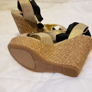 Just Fab tie-up wedges